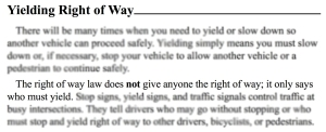 yield right of way